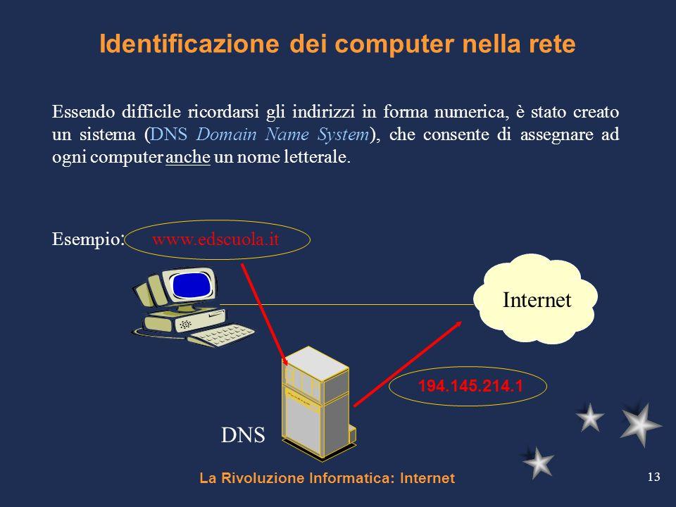 La Rivoluzione Informatica: Internet 13 Identificazione dei computer nella rete Essendo difficile ricordarsi gli indirizzi in forma numerica, è stato