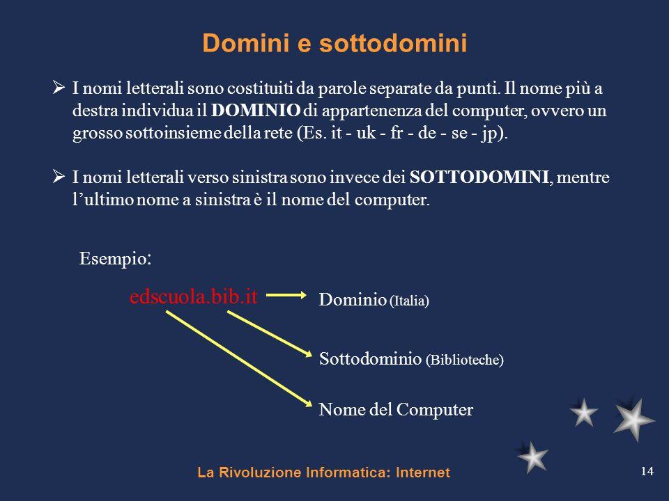 La Rivoluzione Informatica: Internet 14 Domini e sottodomini I nomi letterali sono costituiti da parole separate da punti. Il nome più a destra indivi