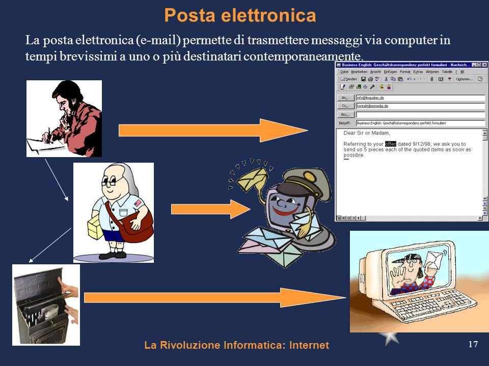 La Rivoluzione Informatica: Internet 17 Posta elettronica La posta elettronica (e-mail) permette di trasmettere messaggi via computer in tempi breviss