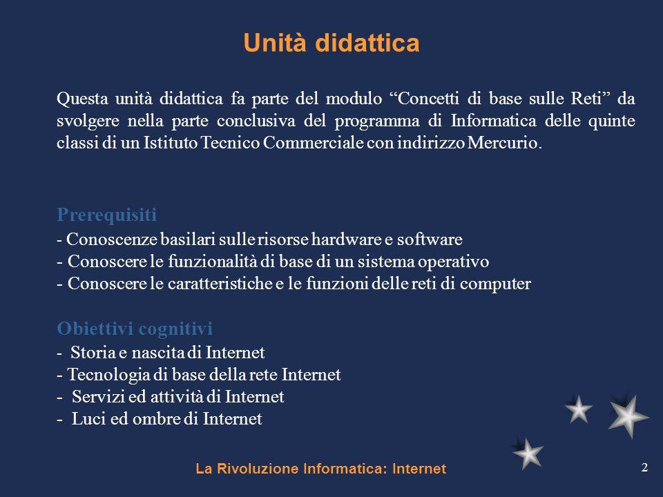 La Rivoluzione Informatica: Internet 2 Unità didattica Questa unità didattica fa parte del modulo Concetti di base sulle Reti da svolgere nella parte