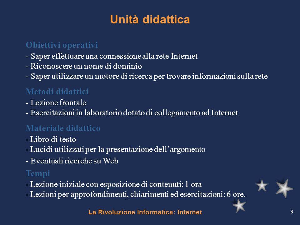 La Rivoluzione Informatica: Internet 3 Unità didattica Obiettivi operativi - Saper effettuare una connessione alla rete Internet - Riconoscere un nome