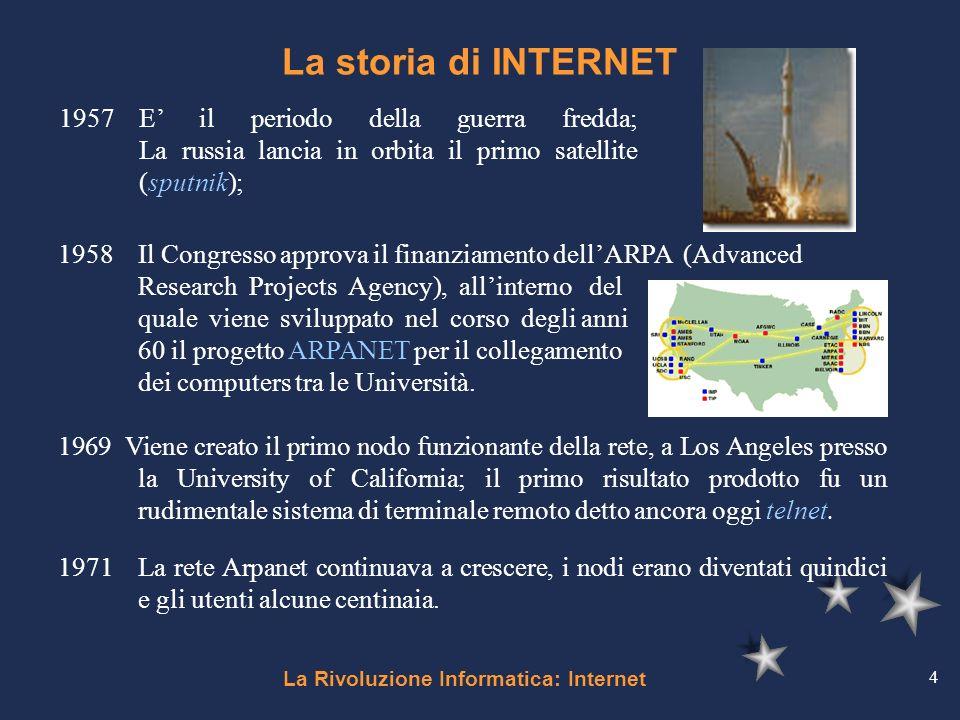 La Rivoluzione Informatica: Internet 4 La storia di INTERNET 1957E il periodo della guerra fredda; La russia lancia in orbita il primo satellite (sput