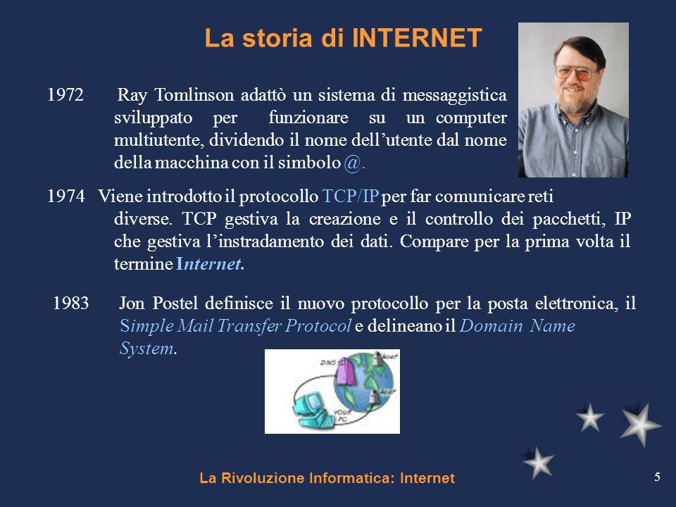 La Rivoluzione Informatica: Internet 5 La storia di INTERNET 1972 Ray Tomlinson adattò un sistema di messaggistica sviluppato per funzionare su un com