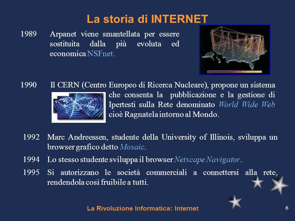 La Rivoluzione Informatica: Internet 6 La storia di INTERNET 1992Marc Andreessen, studente della University of Illinois, sviluppa un browser grafico d