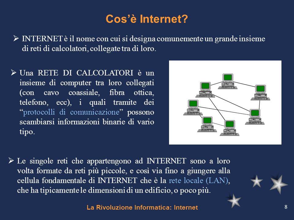 La Rivoluzione Informatica: Internet 8 Cosè Internet? Una RETE DI CALCOLATORI è un insieme di computer tra loro collegati (con cavo coassiale, fibra o