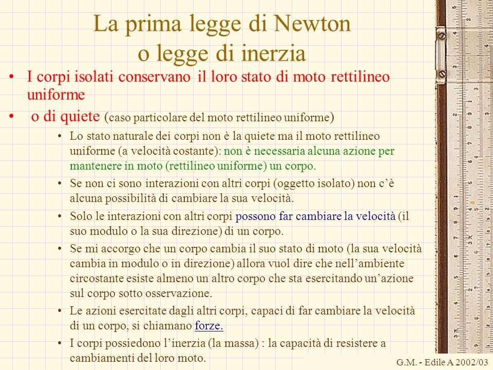 G.M. - Edile A 2002/03 La prima legge di Newton o legge di inerzia I corpi isolati conservano il loro stato di moto rettilineo uniforme o di quiete (