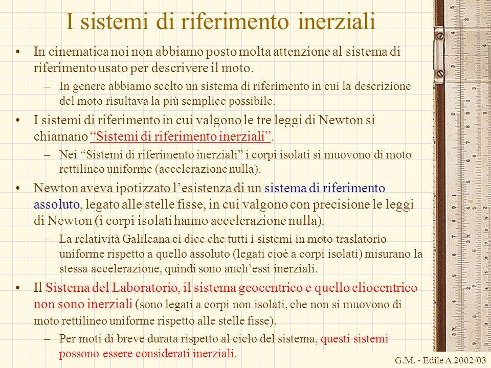 G.M. - Edile A 2002/03 I sistemi di riferimento inerziali In cinematica noi non abbiamo posto molta attenzione al sistema di riferimento usato per des