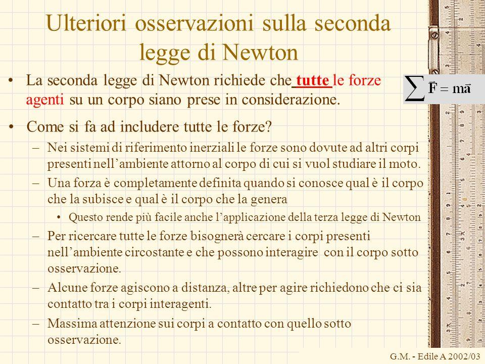 G.M. - Edile A 2002/03 Ulteriori osservazioni sulla seconda legge di Newton La seconda legge di Newton richiede che tutte le forze agenti su un corpo