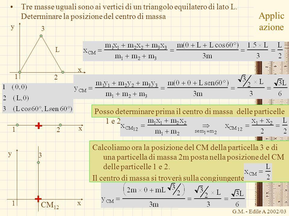 G.M. - Edile A 2002/03 Applic azione Tre masse uguali sono ai vertici di un triangolo equilatero di lato L. Determinare la posizione del centro di mas