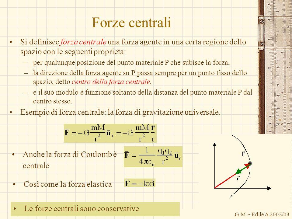G.M. - Edile A 2002/03 Forze centrali Si definisce forza centrale una forza agente in una certa regione dello spazio con le seguenti proprietà: –per q