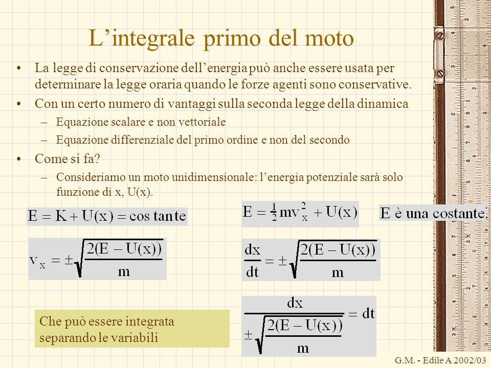 G.M. - Edile A 2002/03 Lintegrale primo del moto La legge di conservazione dellenergia può anche essere usata per determinare la legge oraria quando l