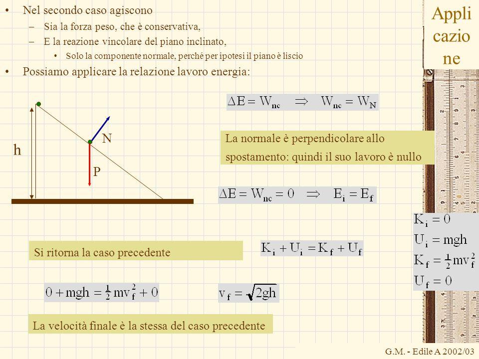 G.M. - Edile A 2002/03 Appli cazio ne Nel secondo caso agiscono –Sia la forza peso, che è conservativa, –E la reazione vincolare del piano inclinato,