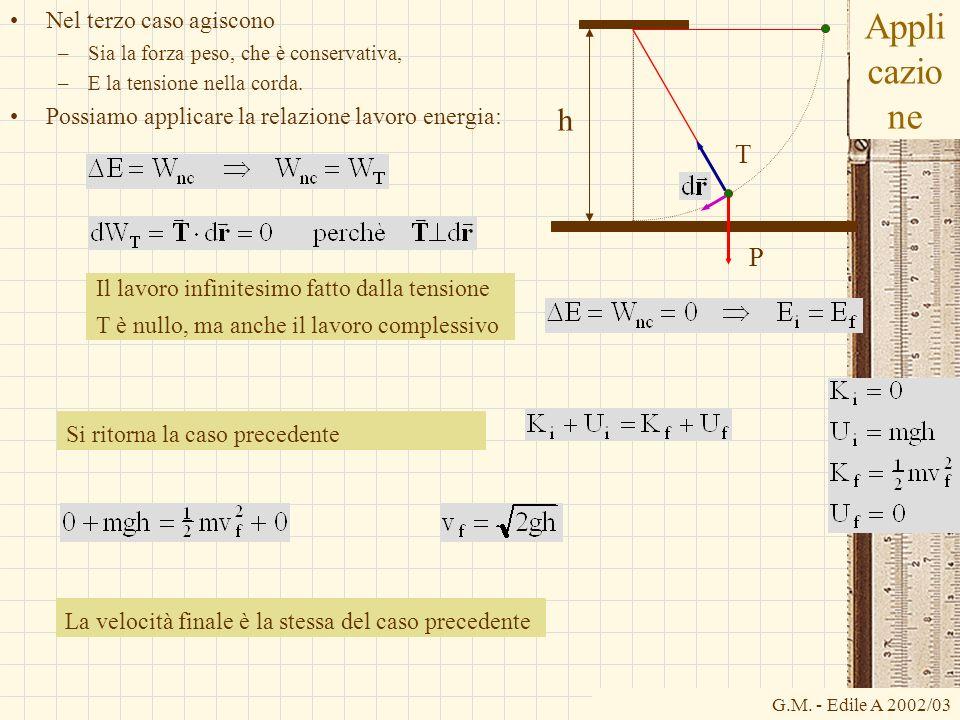 G.M. - Edile A 2002/03 Appli cazio ne Nel terzo caso agiscono –Sia la forza peso, che è conservativa, –E la tensione nella corda. Possiamo applicare l