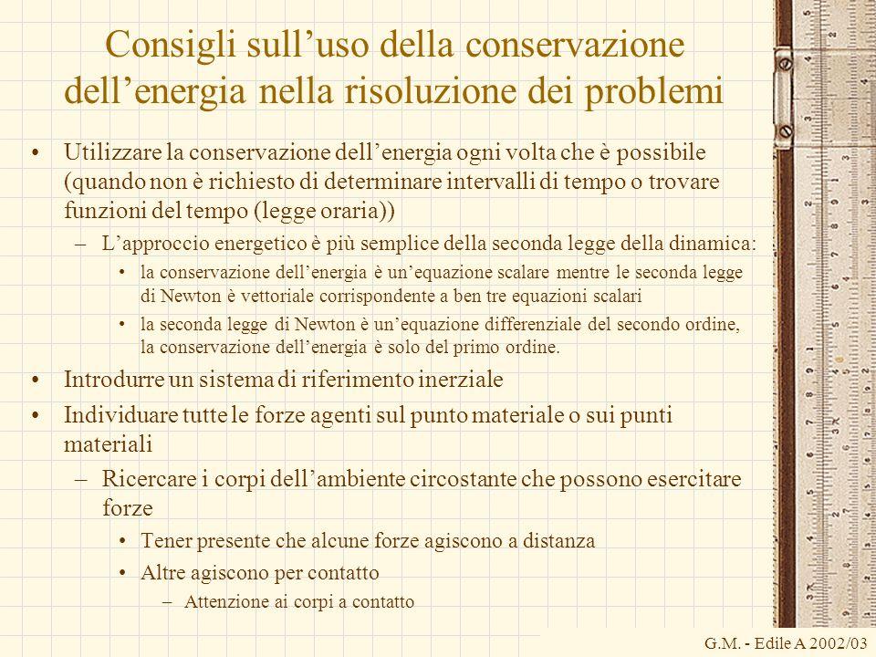 G.M. - Edile A 2002/03 Consigli sulluso della conservazione dellenergia nella risoluzione dei problemi Utilizzare la conservazione dellenergia ogni vo