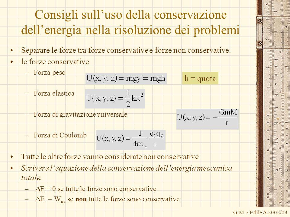 G.M. - Edile A 2002/03 Consigli sulluso della conservazione dellenergia nella risoluzione dei problemi Separare le forze tra forze conservative e forz
