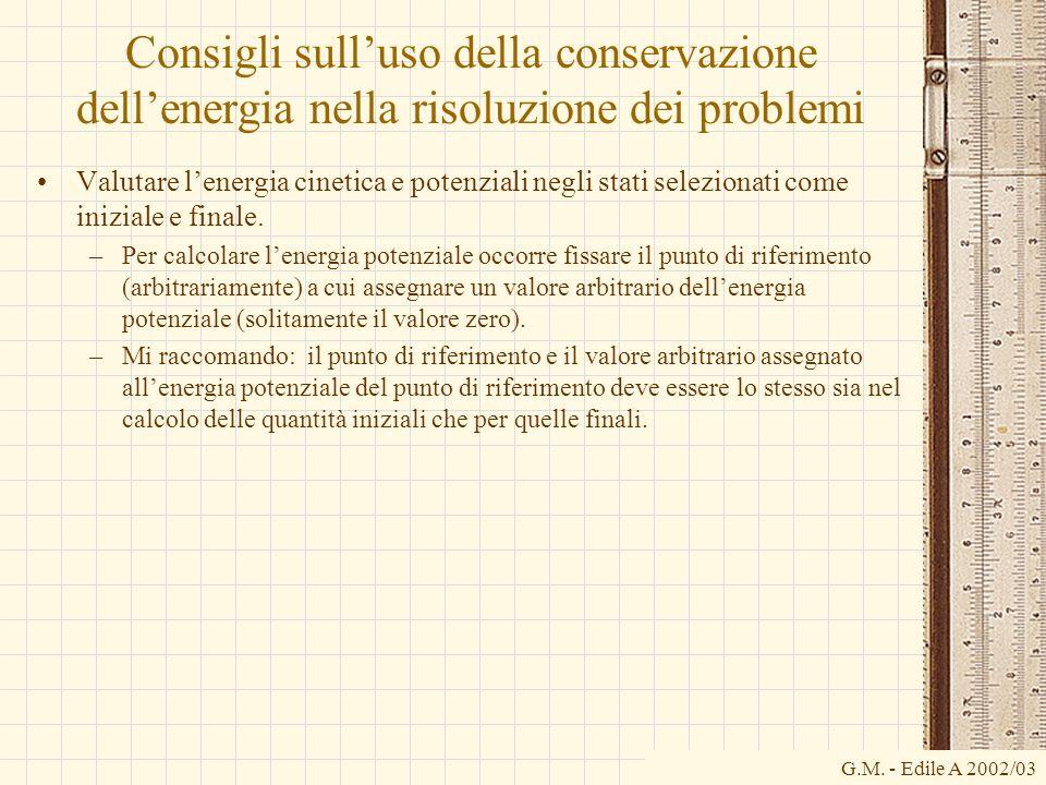 G.M. - Edile A 2002/03 Consigli sulluso della conservazione dellenergia nella risoluzione dei problemi Valutare lenergia cinetica e potenziali negli s