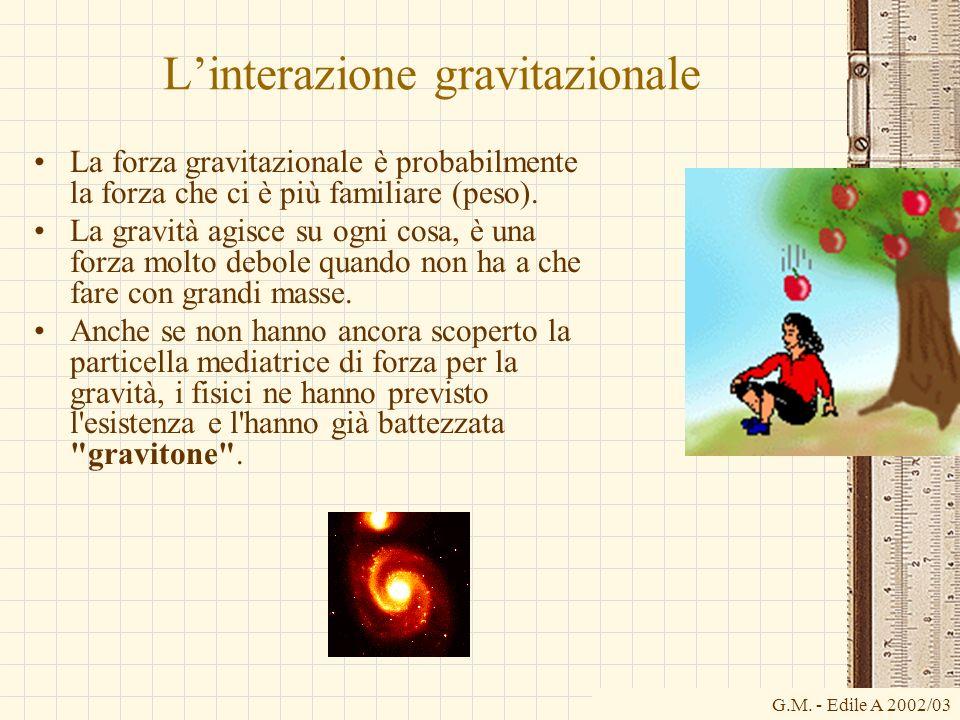 G.M. - Edile A 2002/03 Linterazione gravitazionale La forza gravitazionale è probabilmente la forza che ci è più familiare (peso). La gravità agisce s