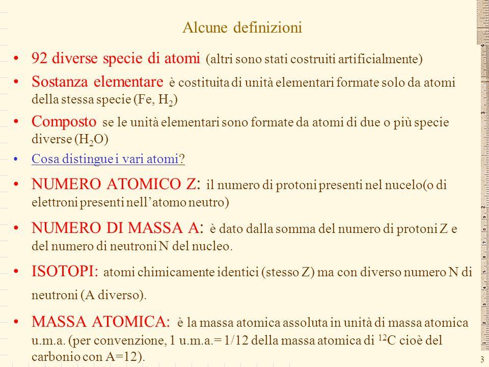 G.M. - Edile A 2002/03 Alcune definizioni 92 diverse specie di atomi (altri sono stati costruiti artificialmente) Sostanza elementare è costituita di