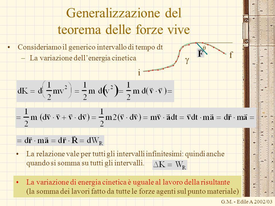 G.M. - Edile A 2002/03 Generalizzazione del teorema delle forze vive Consideriamo il generico intervallo di tempo dt –La variazione dellenergia cineti