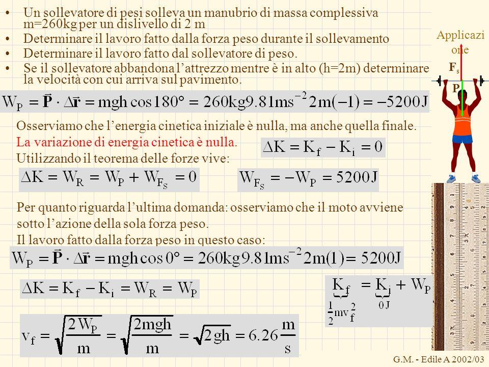G.M. - Edile A 2002/03 Applicazi one Un sollevatore di pesi solleva un manubrio di massa complessiva m=260kg per un dislivello di 2 m Determinare il l