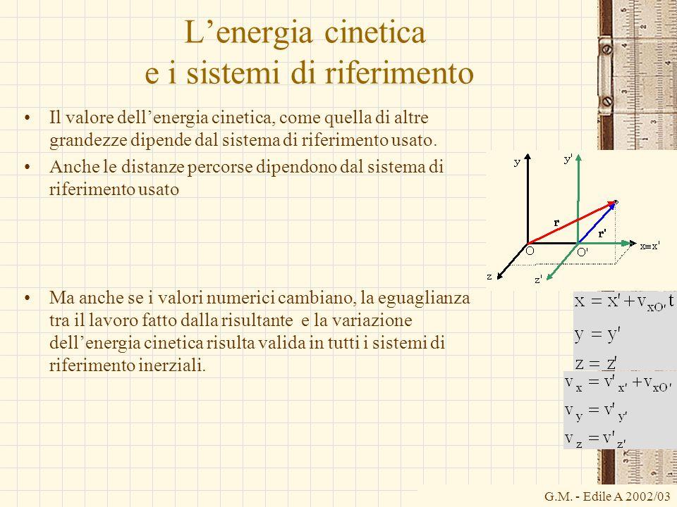 G.M. - Edile A 2002/03 Lenergia cinetica e i sistemi di riferimento Il valore dellenergia cinetica, come quella di altre grandezze dipende dal sistema