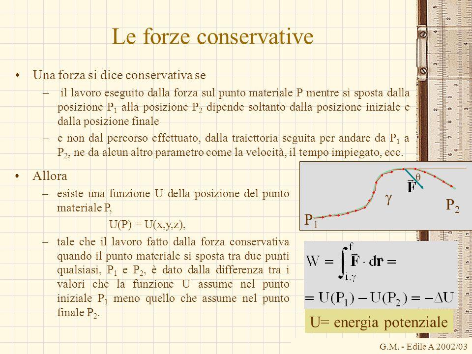 G.M. - Edile A 2002/03 Le forze conservative Una forza si dice conservativa se – il lavoro eseguito dalla forza sul punto materiale P mentre si sposta