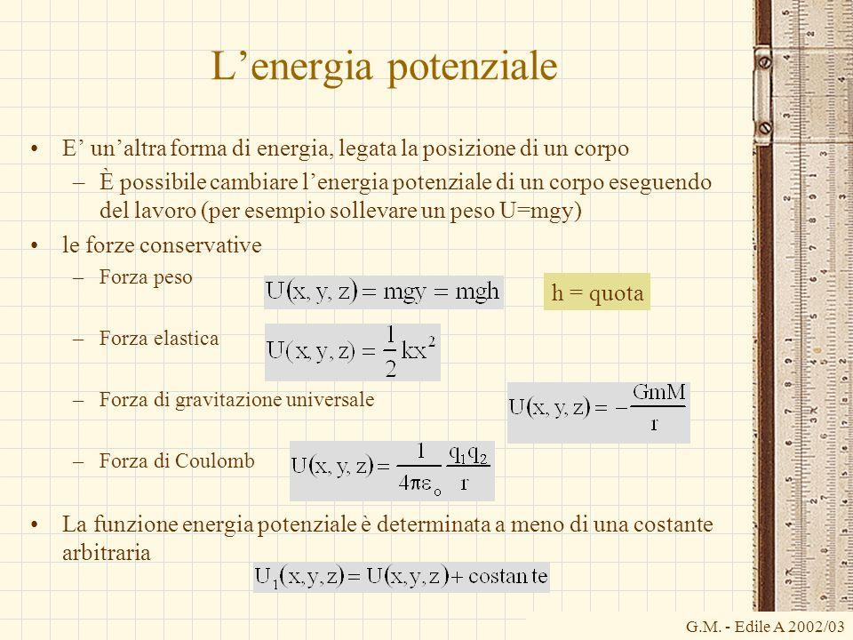 G.M. - Edile A 2002/03 Lenergia potenziale E unaltra forma di energia, legata la posizione di un corpo –È possibile cambiare lenergia potenziale di un