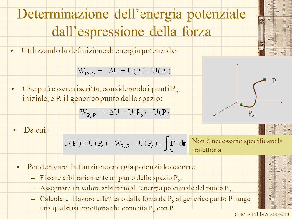 G.M. - Edile A 2002/03 Determinazione dellenergia potenziale dallespressione della forza Utilizzando la definizione di energia potenziale: Che può ess