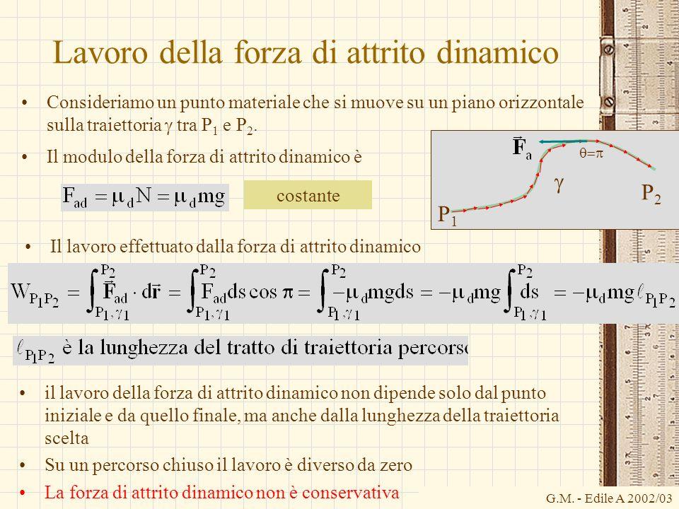 G.M. - Edile A 2002/03 Lavoro della forza di attrito dinamico Consideriamo un punto materiale che si muove su un piano orizzontale sulla traiettoria t