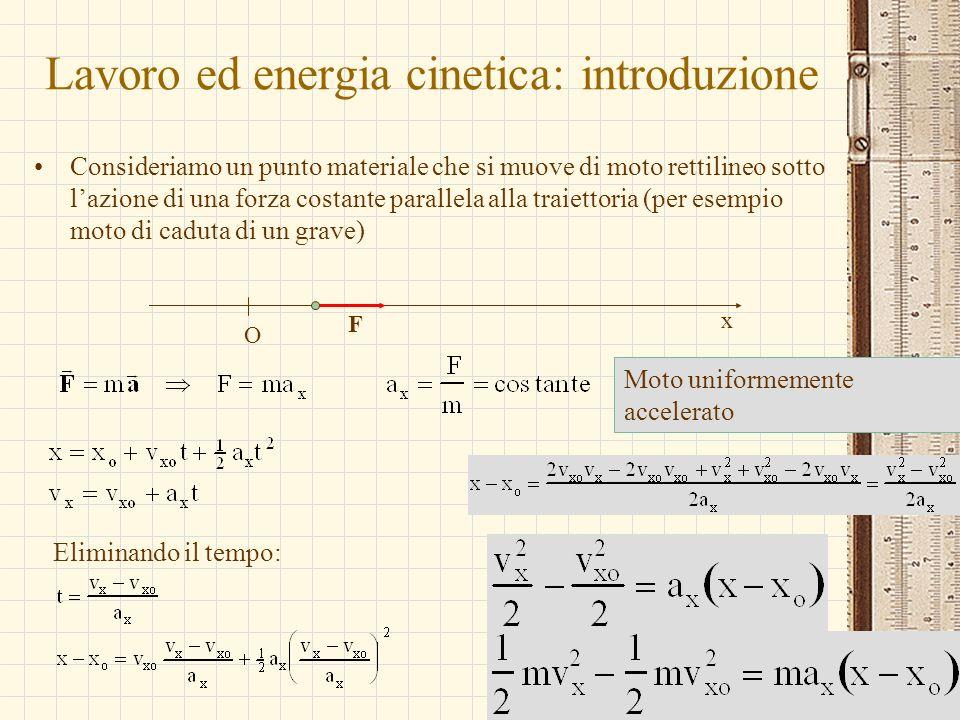 G.M. - Edile A 2002/03 Lavoro ed energia cinetica: introduzione Consideriamo un punto materiale che si muove di moto rettilineo sotto lazione di una f
