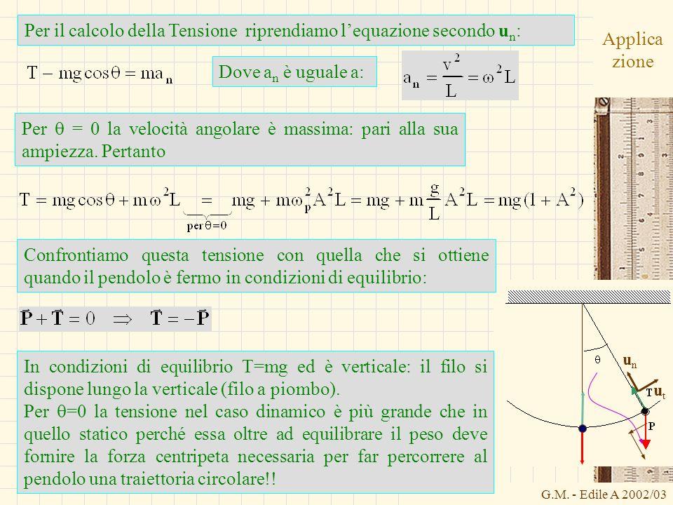G.M. - Edile A 2002/03 Applica zione Per il calcolo della Tensione riprendiamo lequazione secondo u n : Dove a n è uguale a: unun utut Confrontiamo qu