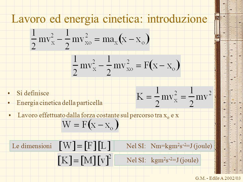 G.M. - Edile A 2002/03 Lavoro ed energia cinetica: introduzione Si definisce Energia cinetica della particella Le dimensioni Lavoro effettuato dalla f