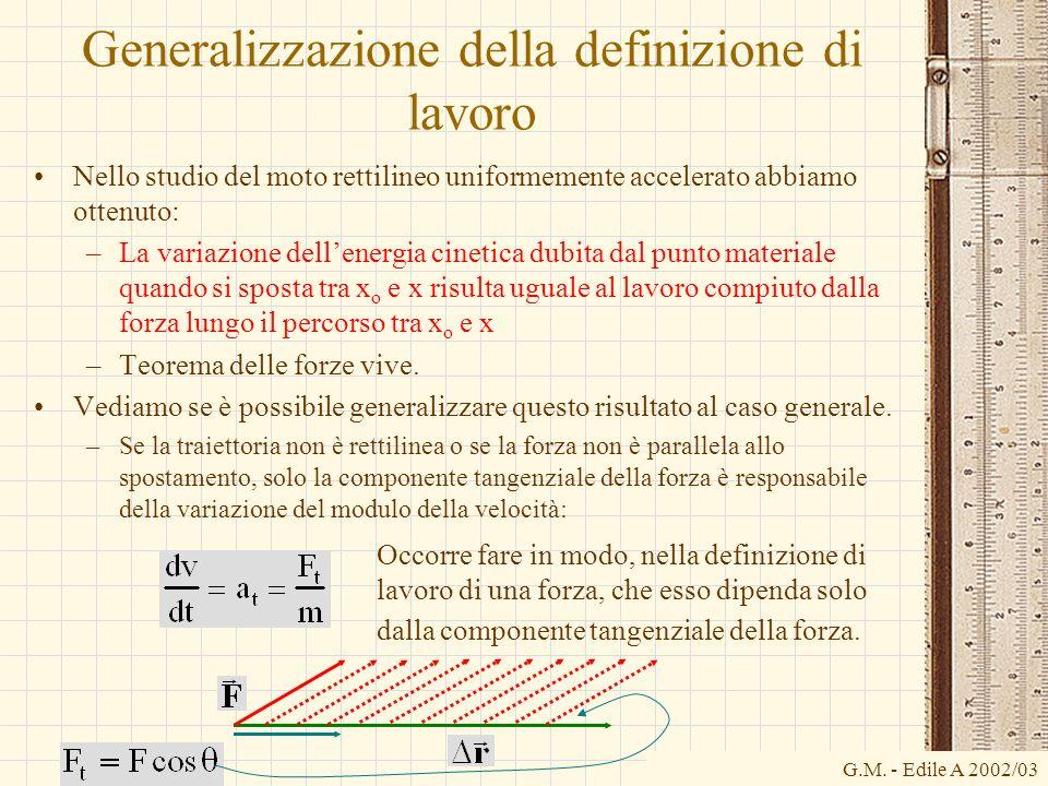 G.M. - Edile A 2002/03 Generalizzazione della definizione di lavoro Nello studio del moto rettilineo uniformemente accelerato abbiamo ottenuto: –La va