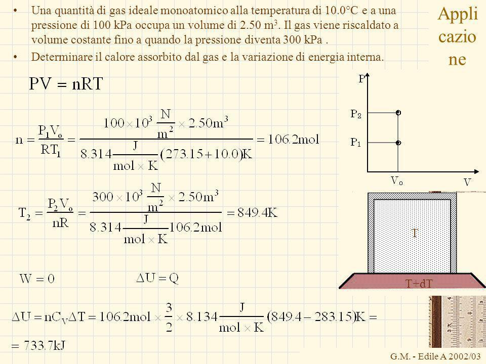 G.M. - Edile A 2002/03 Appli cazio ne Una quantità di gas ideale monoatomico alla temperatura di 10.0°C e a una pressione di 100 kPa occupa un volume