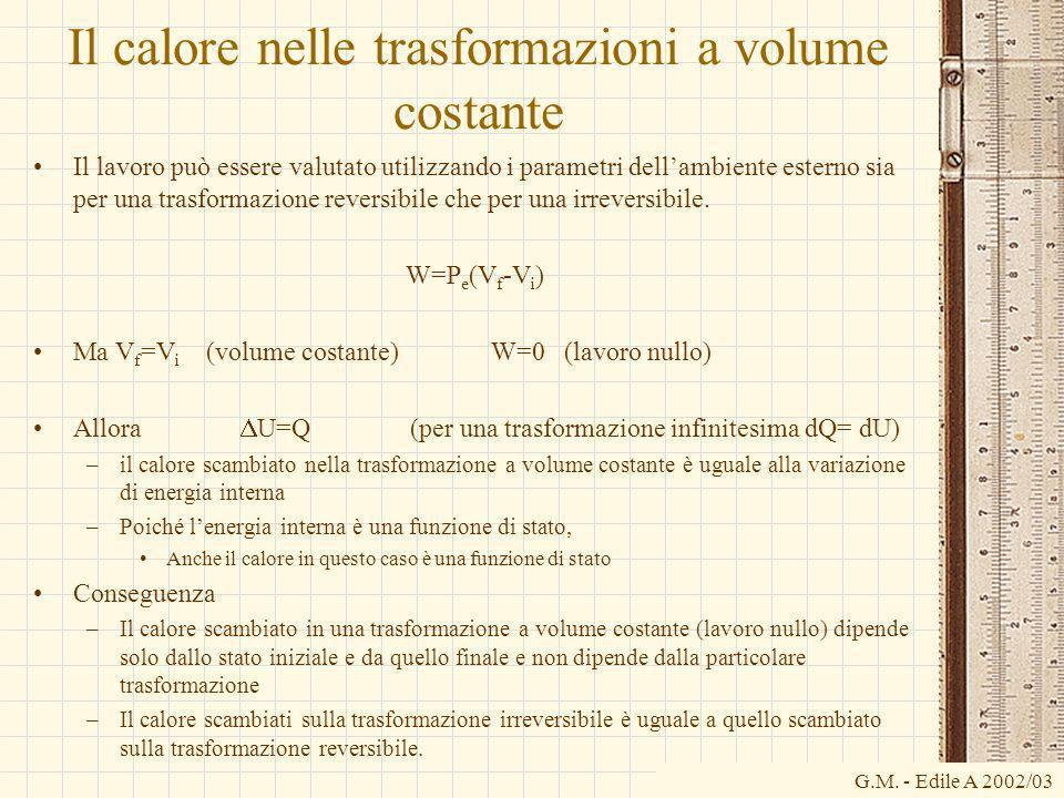 G.M. - Edile A 2002/03 Il calore nelle trasformazioni a volume costante Il lavoro può essere valutato utilizzando i parametri dellambiente esterno sia