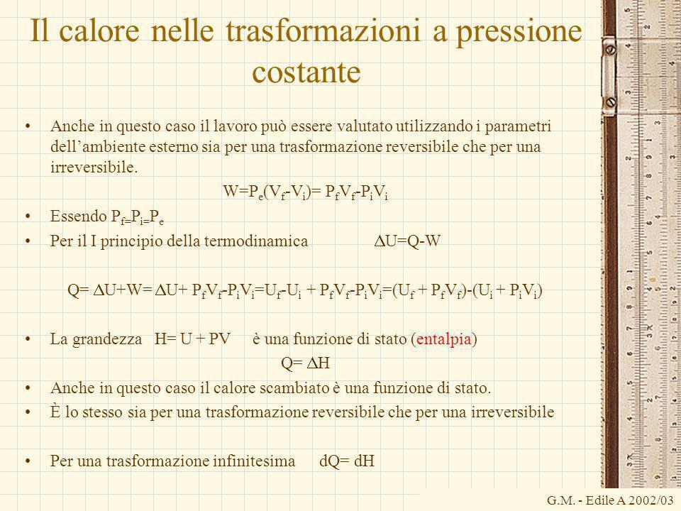G.M. - Edile A 2002/03 Il calore nelle trasformazioni a pressione costante Anche in questo caso il lavoro può essere valutato utilizzando i parametri