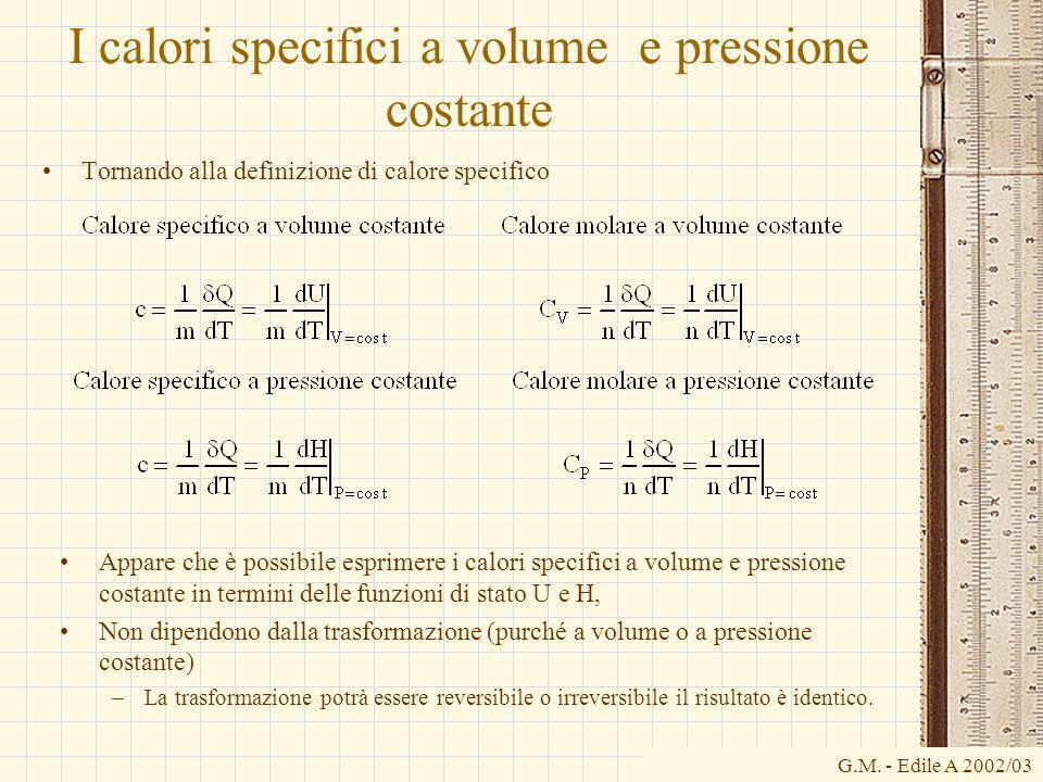 G.M. - Edile A 2002/03 I calori specifici a volume e pressione costante Tornando alla definizione di calore specifico Appare che è possibile esprimere