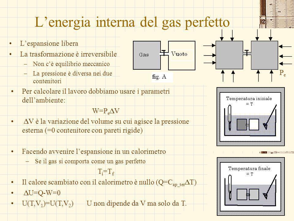 G.M. - Edile A 2002/03 Lenergia interna del gas perfetto Lespansione libera La trasformazione è irreversibile –Non cè equilibrio meccanico –La pressio