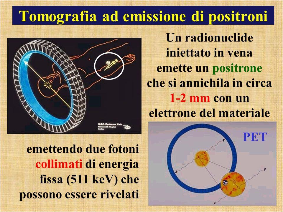 Tomografia ad emissione di positroni emettendo due fotoni collimati di energia fissa (511 keV) che possono essere rivelati PET Un radionuclide inietta