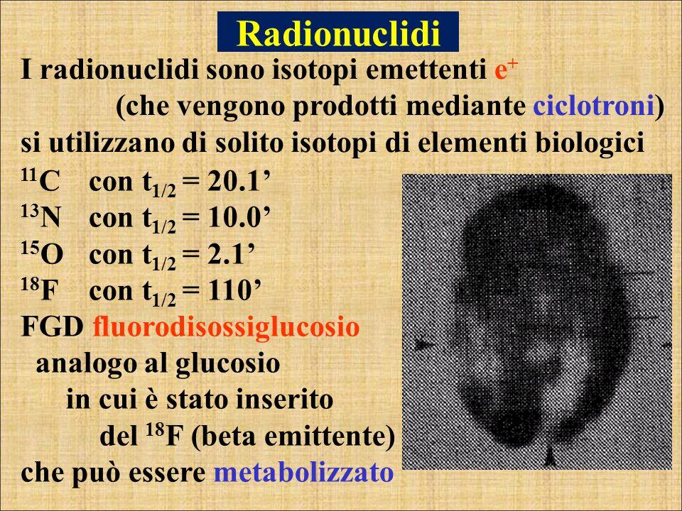Radionuclidi 11 Ccon t 1/2 = 20.1 13 Ncon t 1/2 = 10.0 15 Ocon t 1/2 = 2.1 18 Fcon t 1/2 = 110 FGD fluorodisossiglucosio analogo al glucosio in cui è
