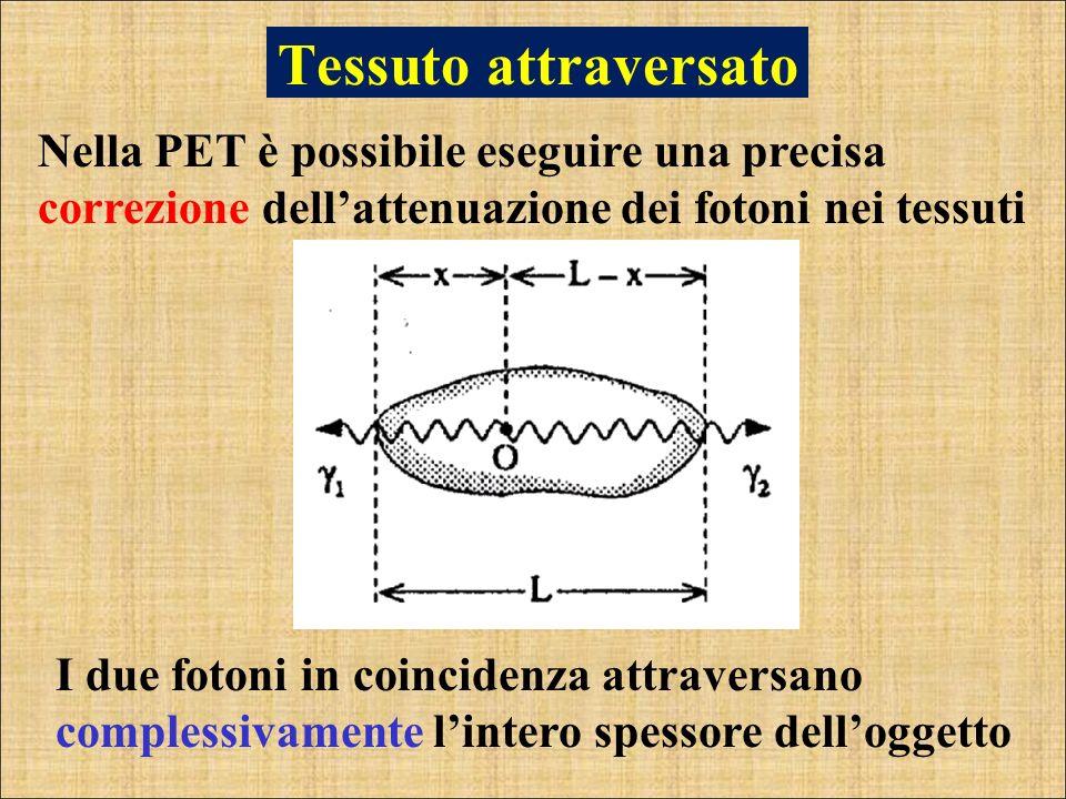 Tessuto attraversato Nella PET è possibile eseguire una precisa correzione dellattenuazione dei fotoni nei tessuti I due fotoni in coincidenza attrave