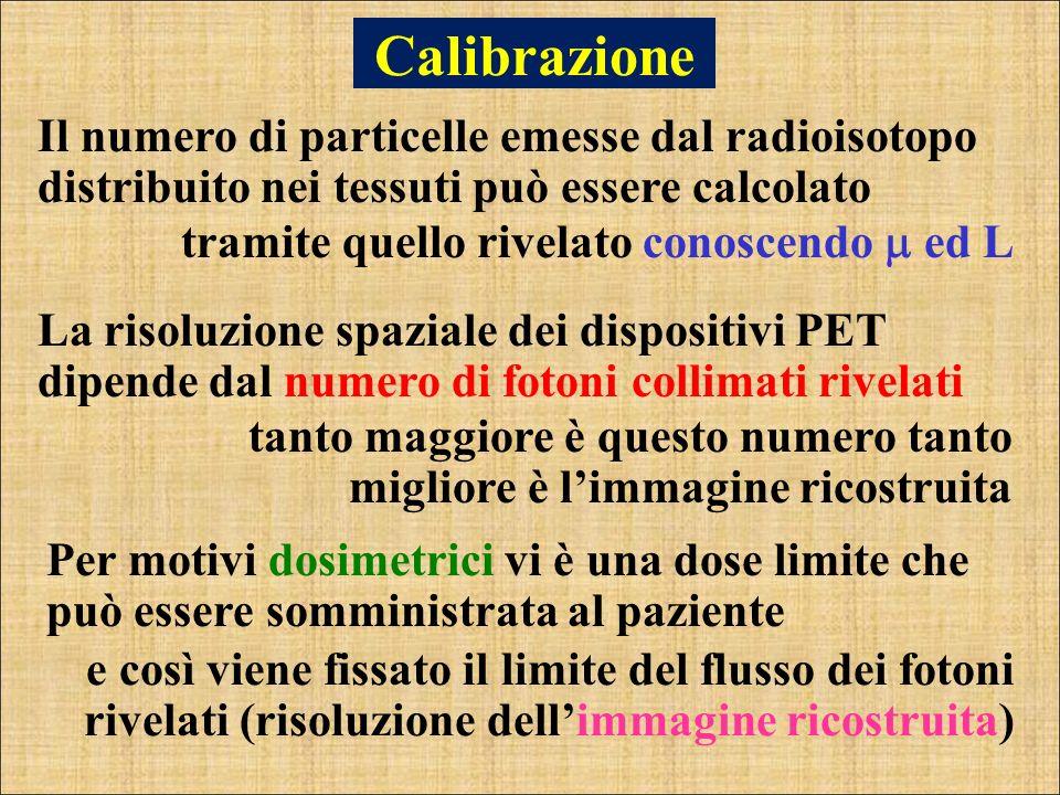 Calibrazione Il numero di particelle emesse dal radioisotopo distribuito nei tessuti può essere calcolato tramite quello rivelato conoscendo ed L tant