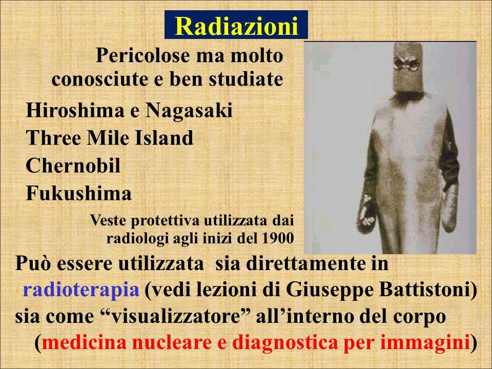 Radiazioni Pericolose ma molto conosciute e ben studiate Può essere utilizzata sia direttamente in radioterapia (vedi lezioni di Giuseppe Battistoni)