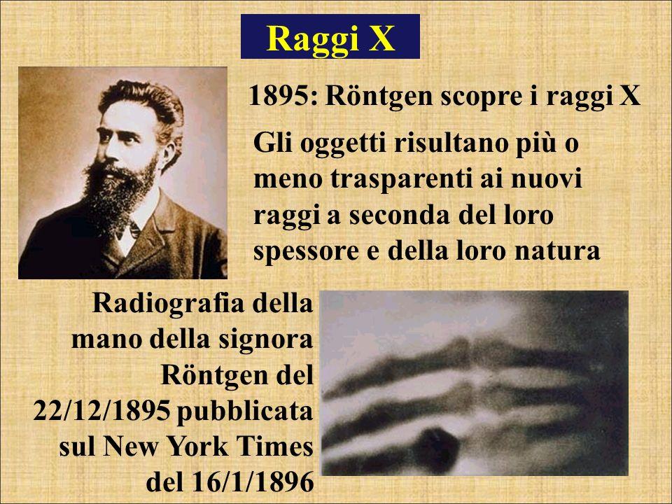 Raggi X 1895: Röntgen scopre i raggi X Gli oggetti risultano più o meno trasparenti ai nuovi raggi a seconda del loro spessore e della loro natura Rad