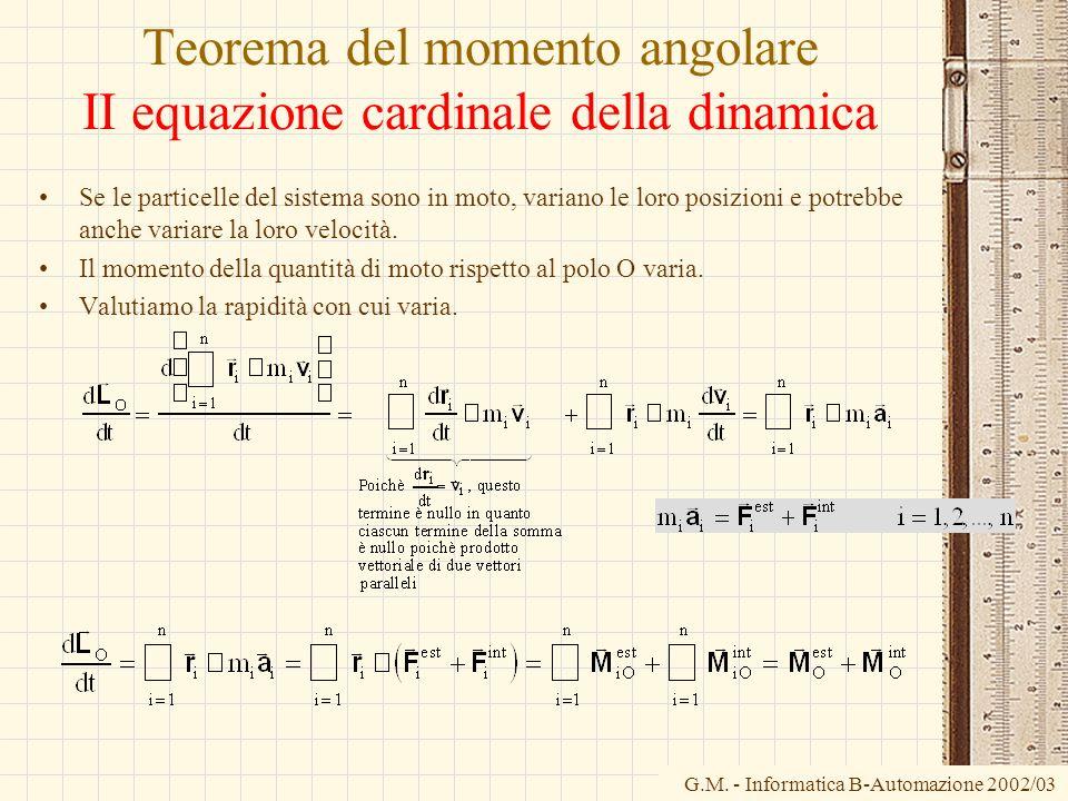 G.M. - Informatica B-Automazione 2002/03 Teorema del momento angolare II equazione cardinale della dinamica Se le particelle del sistema sono in moto,