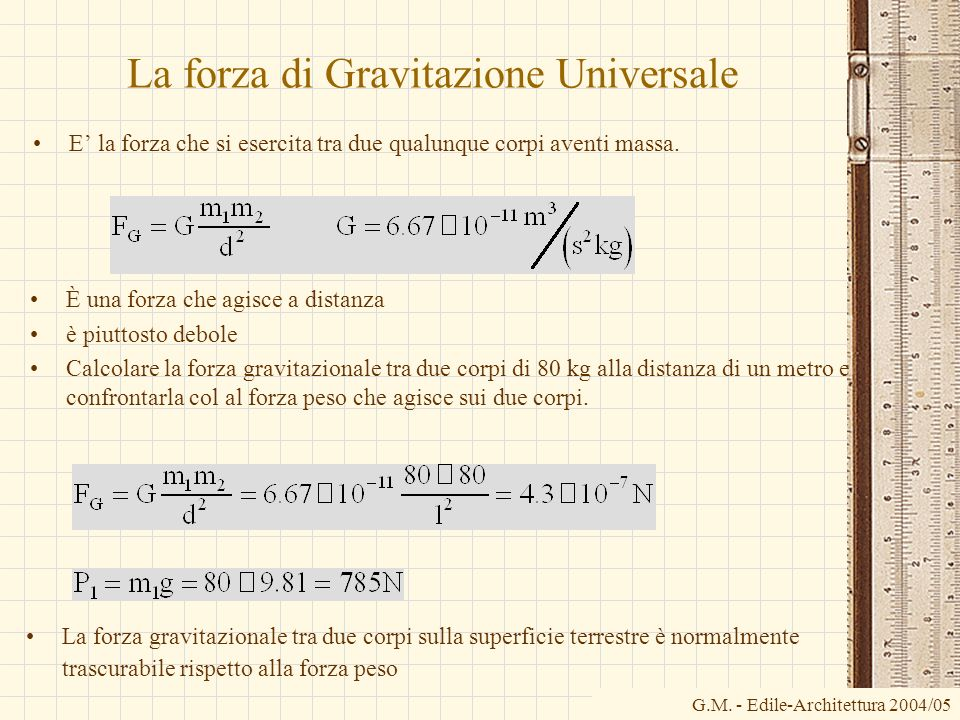 G.M. - Edile-Architettura 2004/05 La forza di Gravitazione Universale E la forza che si esercita tra due qualunque corpi aventi massa. È una forza che