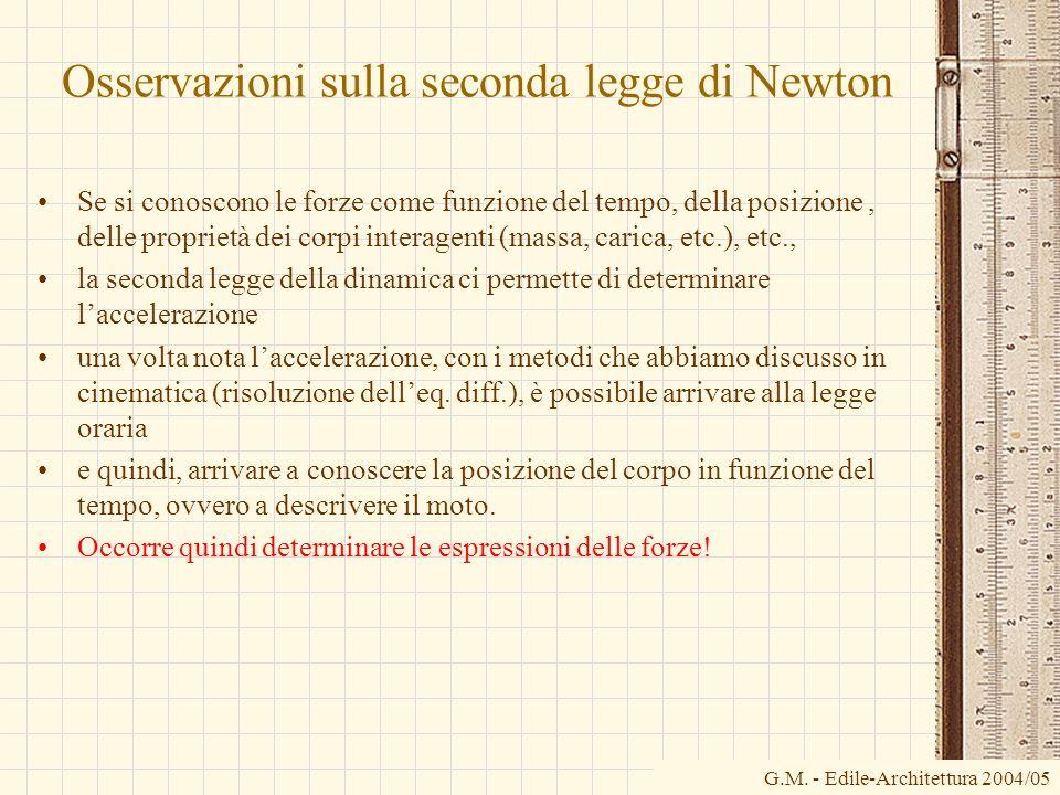 G.M. - Edile-Architettura 2004/05 Osservazioni sulla seconda legge di Newton Se si conoscono le forze come funzione del tempo, della posizione, delle