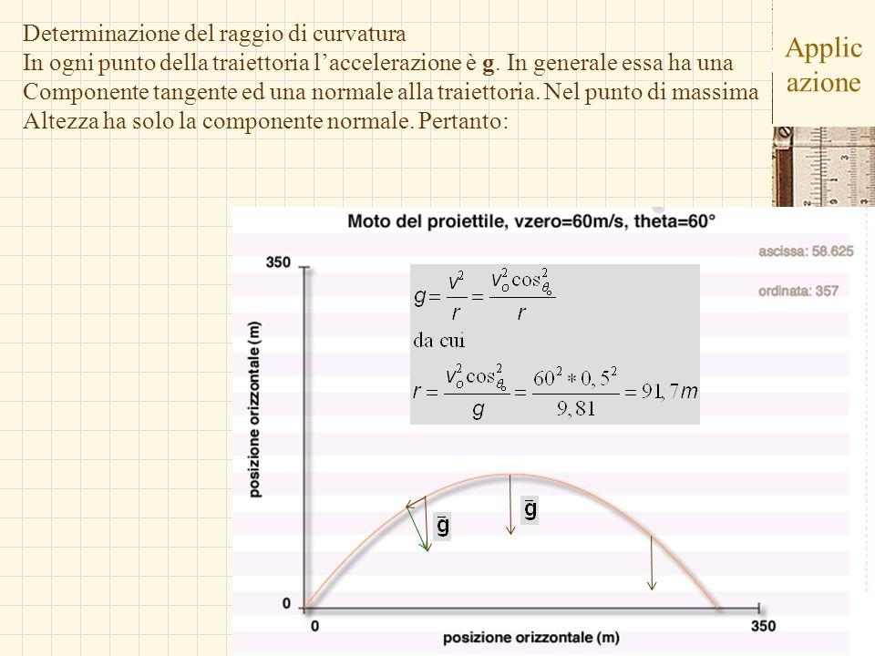 G.M. - Edile-Architettura 2004/05 Applic azione Determinazione del raggio di curvatura In ogni punto della traiettoria laccelerazione è g. In generale