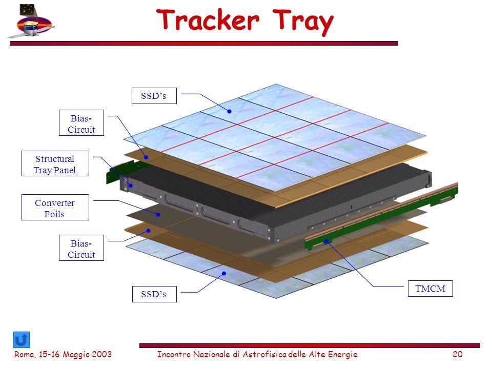 Roma, 15-16 Maggio 2003Incontro Nazionale di Astrofisica delle Alte Energie20 Tracker Tray SSDs Bias- Circuit Structural Tray Panel Converter Foils TMCM Bias- Circuit SSDs