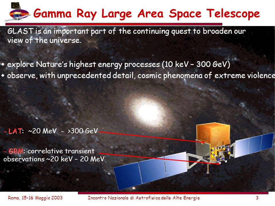Roma, 15-16 Maggio 2003Incontro Nazionale di Astrofisica delle Alte Energie3 Gamma Ray Large Area Space Telescope GLAST is an important part of the continuing quest to broaden our view of the universe.